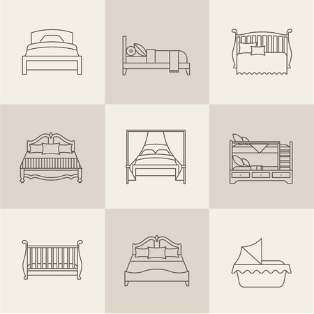 lying in bed: Vector flat bed icon set simple style
