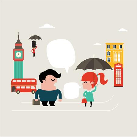 english girl: Vector Illustration for learning english language flat style