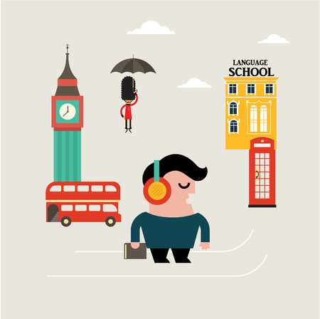 student travel: Vector Illustration for learning english language flat style