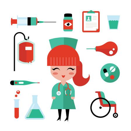 einlauf: Krankenschwester und medizinische Grafiken