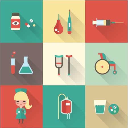 einlauf: Krankenschwester Icons Vektor Flach Krankenschwester Krankenhaus medizinische