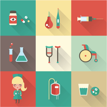 an injector: Nurse icons vector flat nurse hospital medical