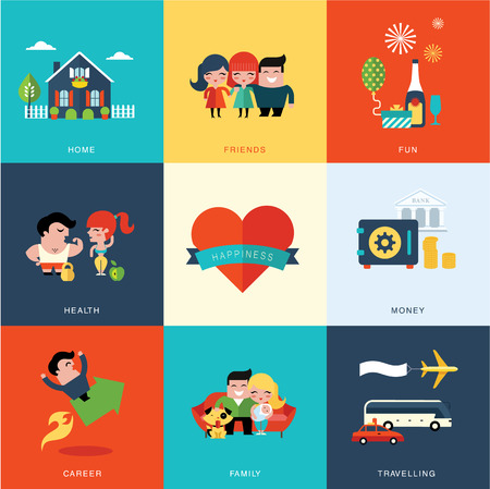 work safe: Vector set of eight consepts of happiness vector icons