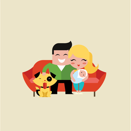 Family  icon vector illustration flat simple cute Vector