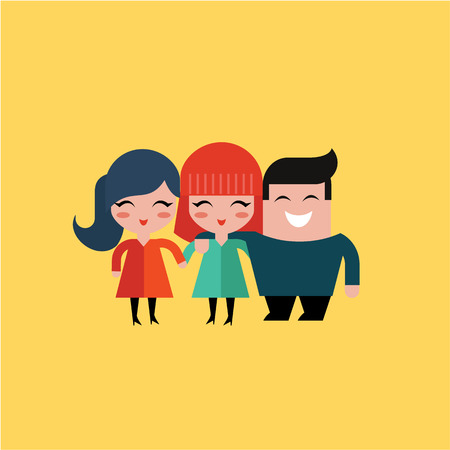 friends hugging: fitness icon vector illustration flat simple cute Illustration