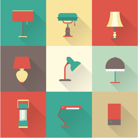 lamp shade: vector icons set lamps flat various styles