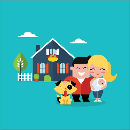 ilustración vectorial de la familia joven con un perro