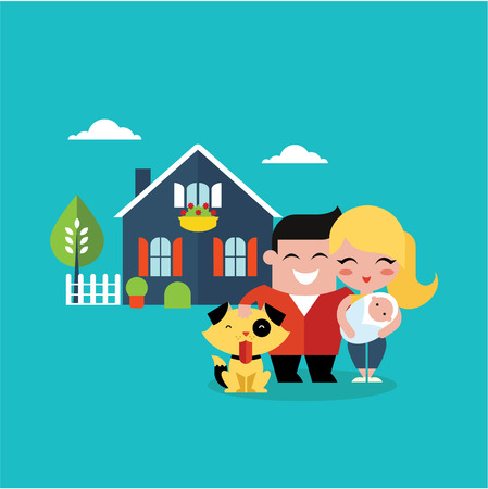 happy family house: vector illustration of young family with a dog