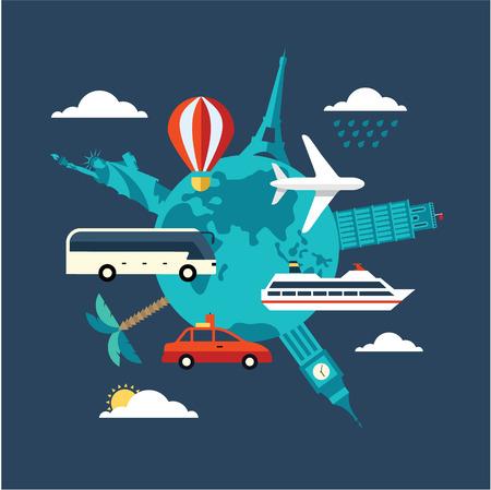 vintage travel: illustration de Voyage de vecteur plat icône de style moderne Illustration