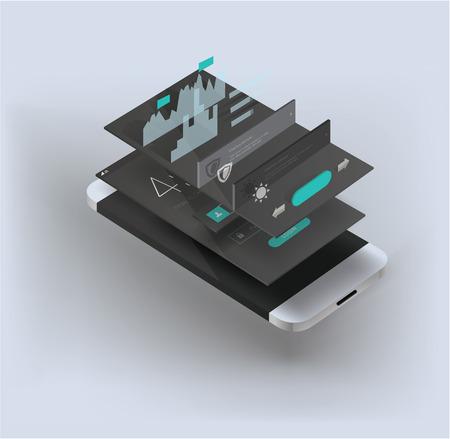mobile application: smartphone illustration