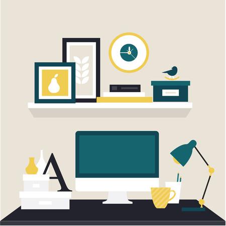 book shelves: designer workspace Illustration