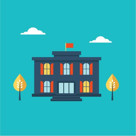 old building facades: School building icon