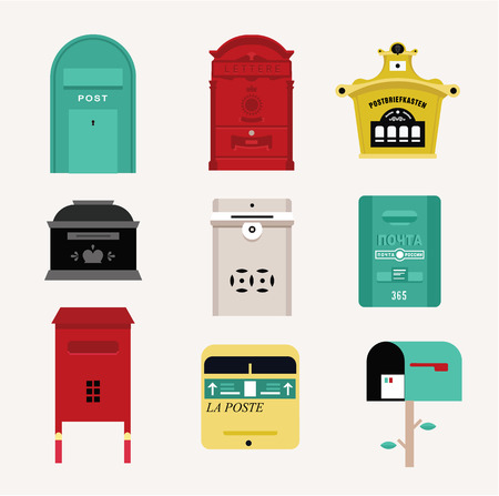mail us: Vector mail boxes Illustration
