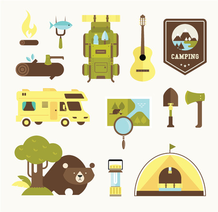 camping vector icons Vector