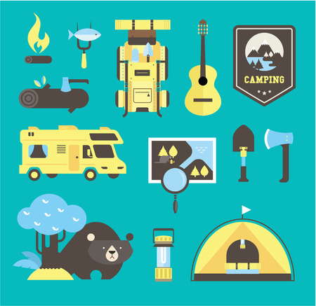 rv: camping vector icons flat style illustration cute