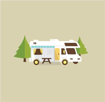 RV キャンプ リゾート partk フラット スタイル イラスト  イラスト・ベクター素材
