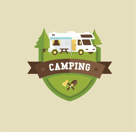 remolque: RV Camping Resort partk ilustración estilo plano