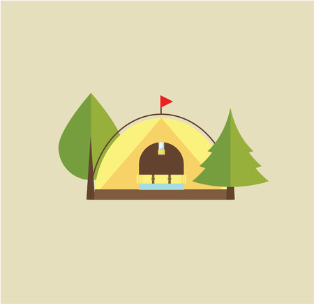 tent vector: Tent camping park flat stlyle illustration vector