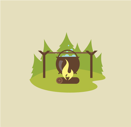 outdoor fireplace: Camp fire illustration vector flat style cute Illustration