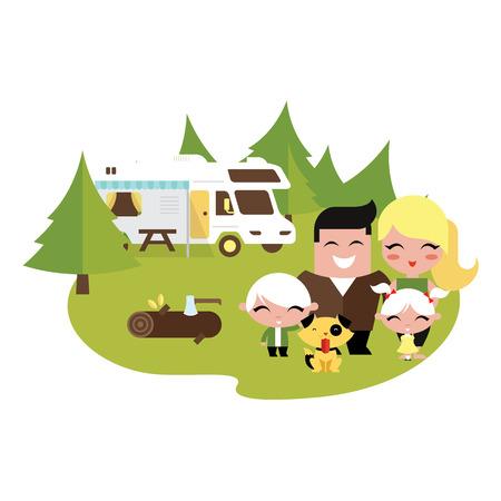 perro familia: Familia de camping al aire libre