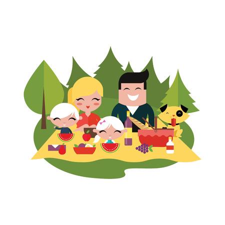 familia picnic: Al aire libre de la comida campestre de la familia Vectores