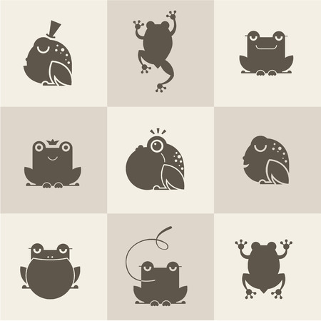 fairy silhouette: Frog characters flat