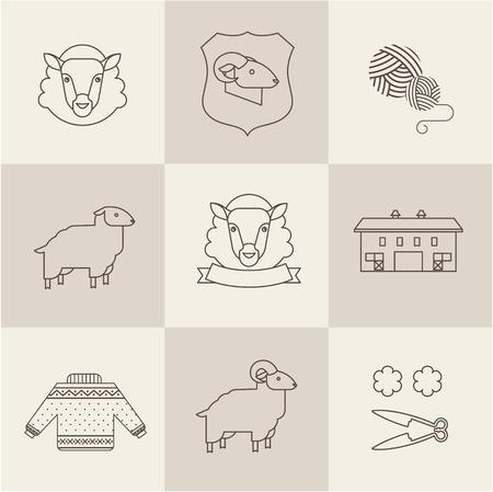 sheep sign: sheep vector set