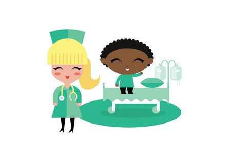 woman lying in bed: child kid hospital illustration