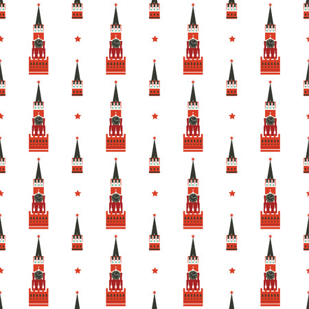 red square moscow: russian kremlin seamless pattern
