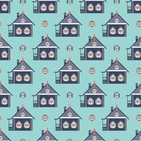 country house: russian country house seamless pattern