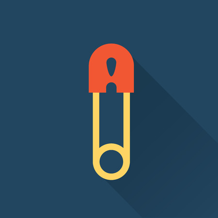 safety pin: vector pin illustration flat icon