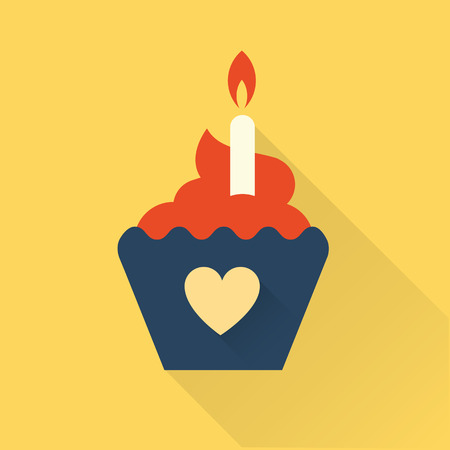 first birthday: flat bithday cupcake flat style illustration
