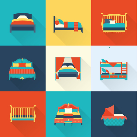 lying on bed: Vector bed icon set