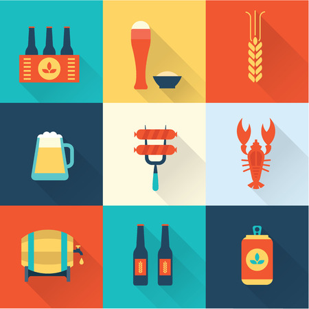 six packs: Beer icons set