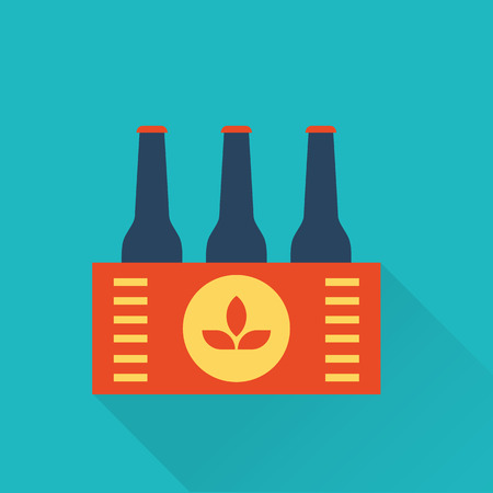 six objects: Six pack of Beer bottles in a box Illustration