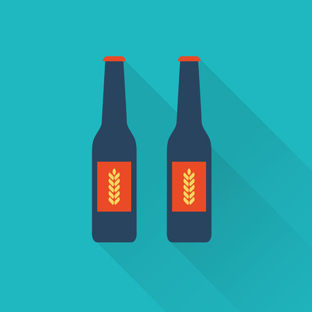 six objects: Beer bottles flat icons