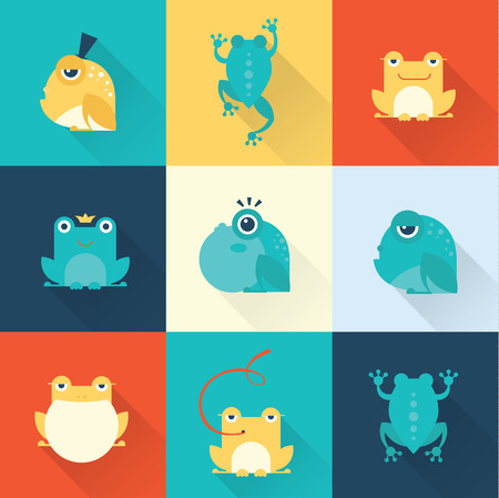 cute frog: Frog characters flat
