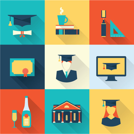 university building: graduation icons Illustration