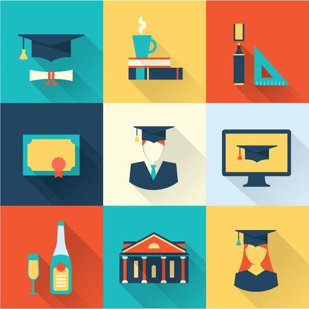 graduation icons Vectores