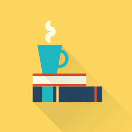 books with a cup Vector