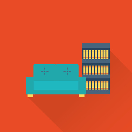 book case: vector flat library sofa and book case icon Illustration