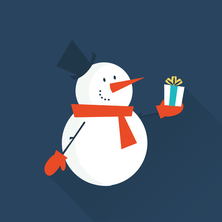 snow man: snow man with a gift