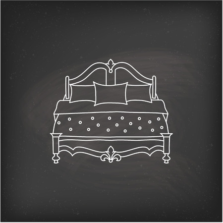 breakfast in bed: Vector bed icon doodle Illustration