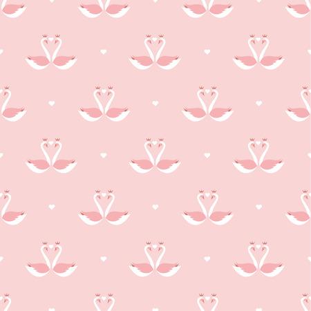 valentines heart swan pattern Vector