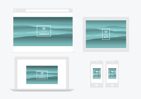 browser business: website and app presentation  devices vector illustration Illustration