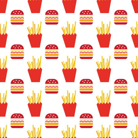 hamburger and fries pattern 向量圖像