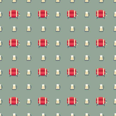 chilled: beer barrels and glass pattern Illustration