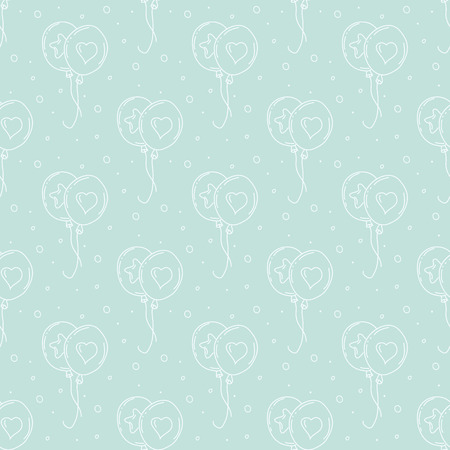 balloons and hearts pattern Vector
