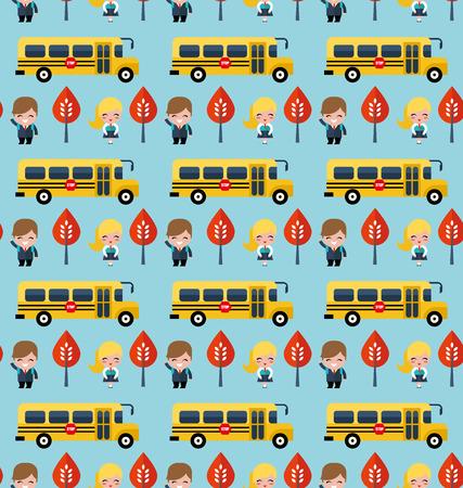 road grader: bus and school children pattern Illustration
