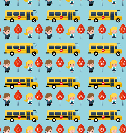 bus and school children pattern Illustration